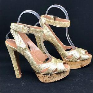 ALAIA Gold-tone Snakeskin Platform Sandals